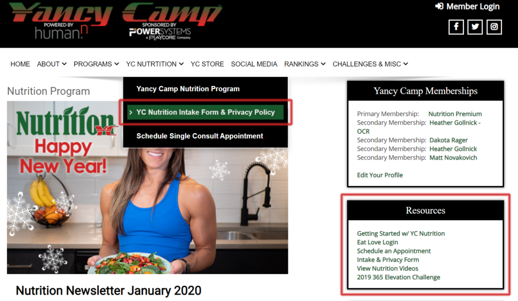 Yancy Camp Nutrition Getting Started Screen Shot
